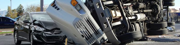 Aftermath of 18-wheeler Truck Accident Stock Photo