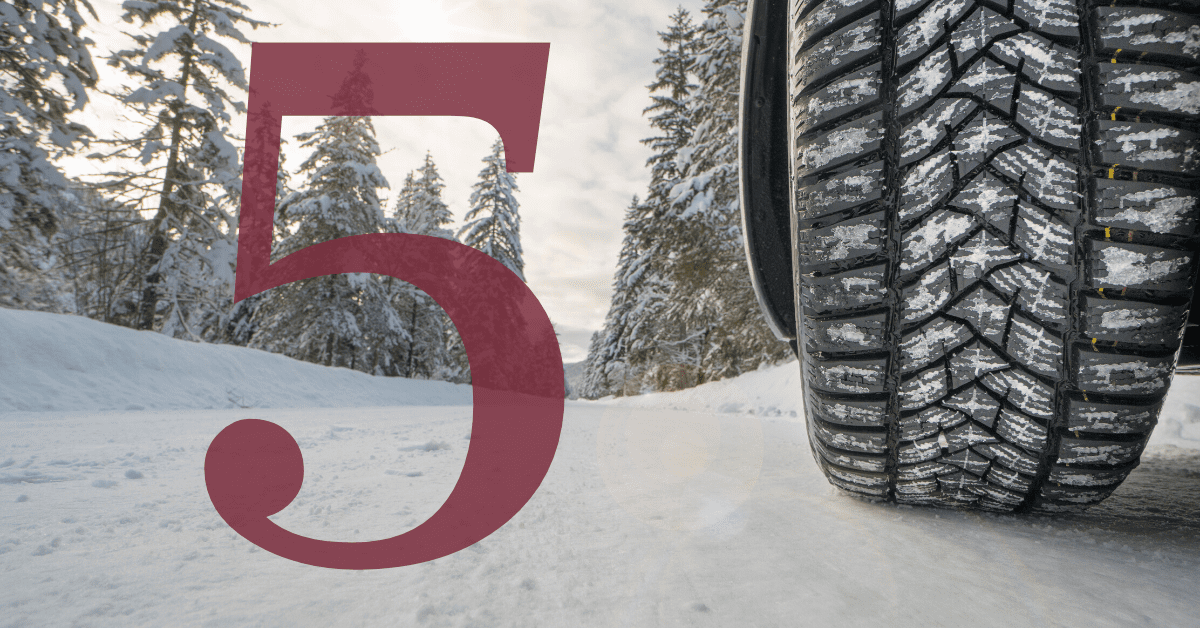 tires-on-snowy-road-with-number-five