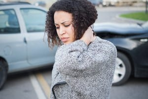 Woman With Neck Injury After Car Accident Stock Photo