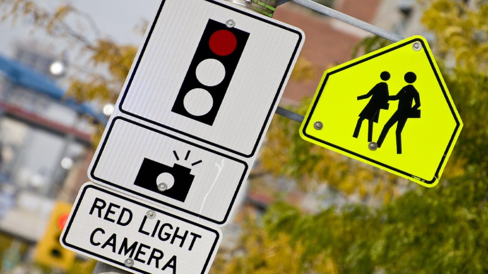 Red Light Camera Sign Stock Photo