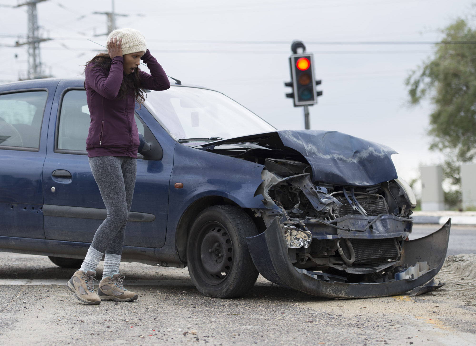 woman upset after a car accident in Montgomery, AL