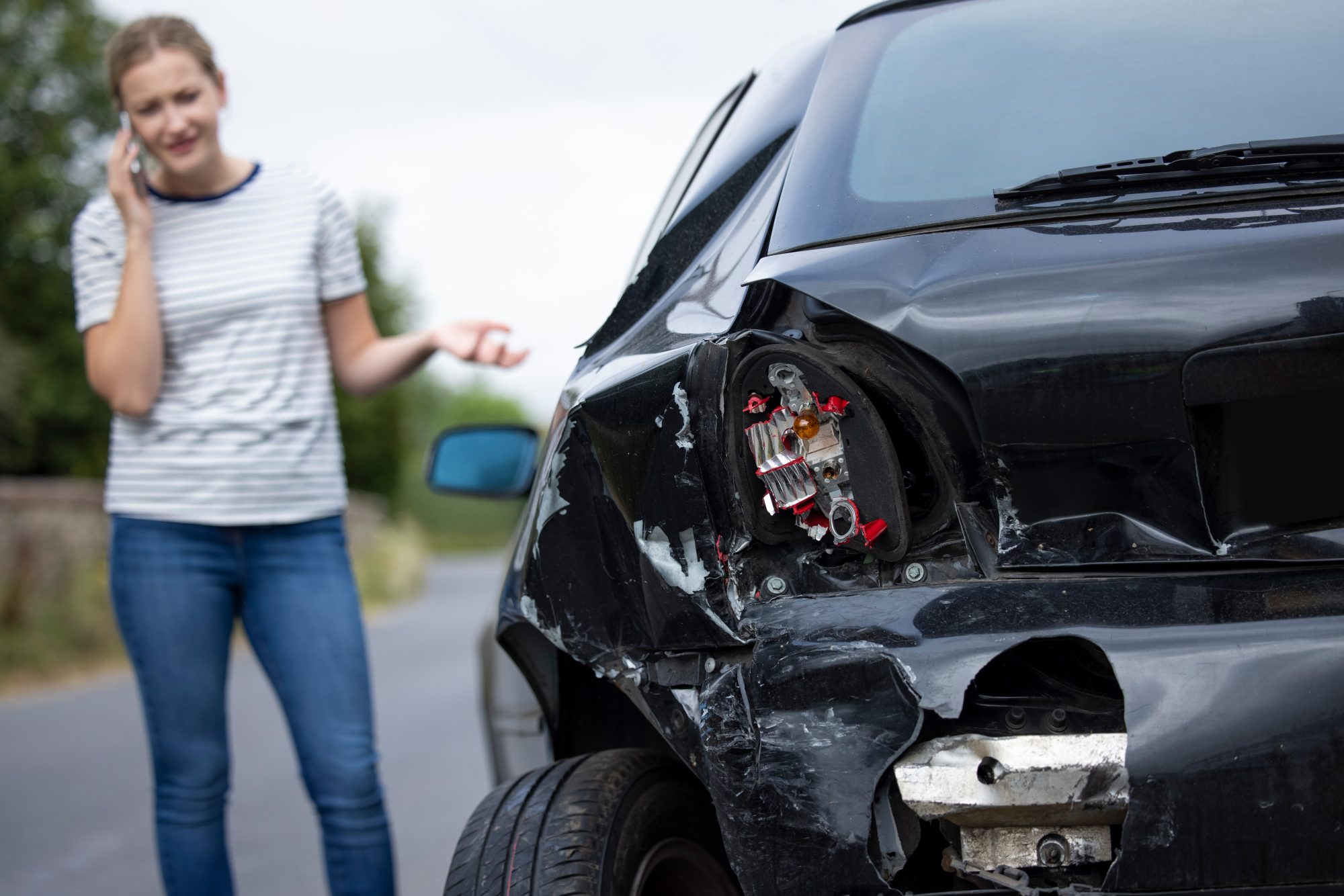 a woman calling an attorney after a car accident in Montgomery, AL
