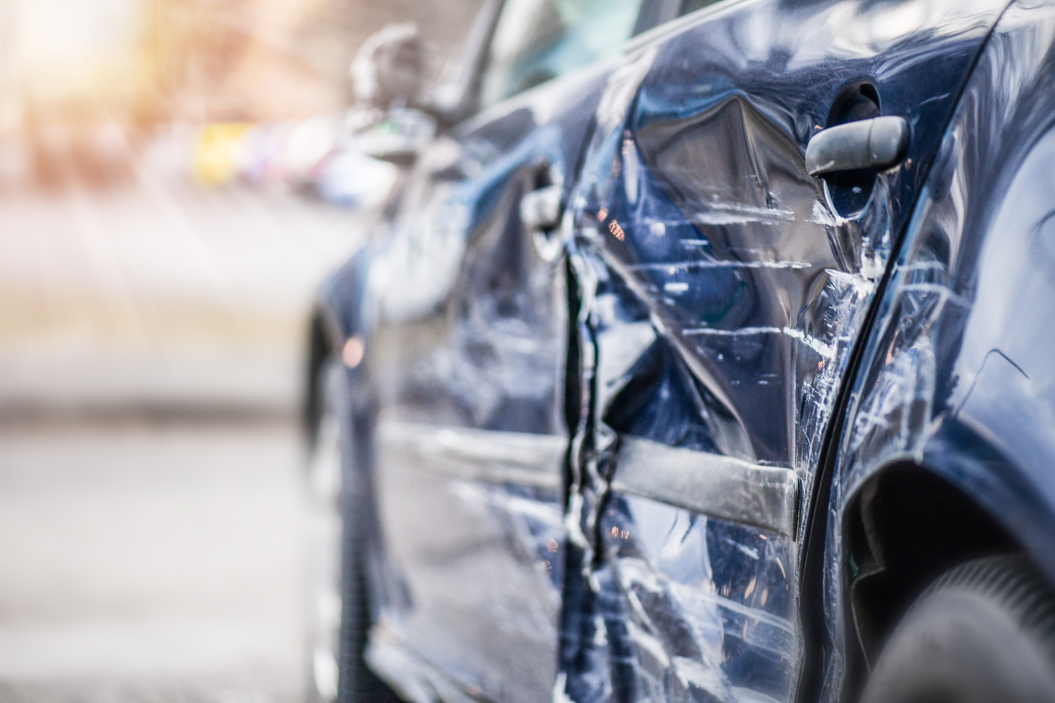 Damage to a car after an accident in Selma, AL.