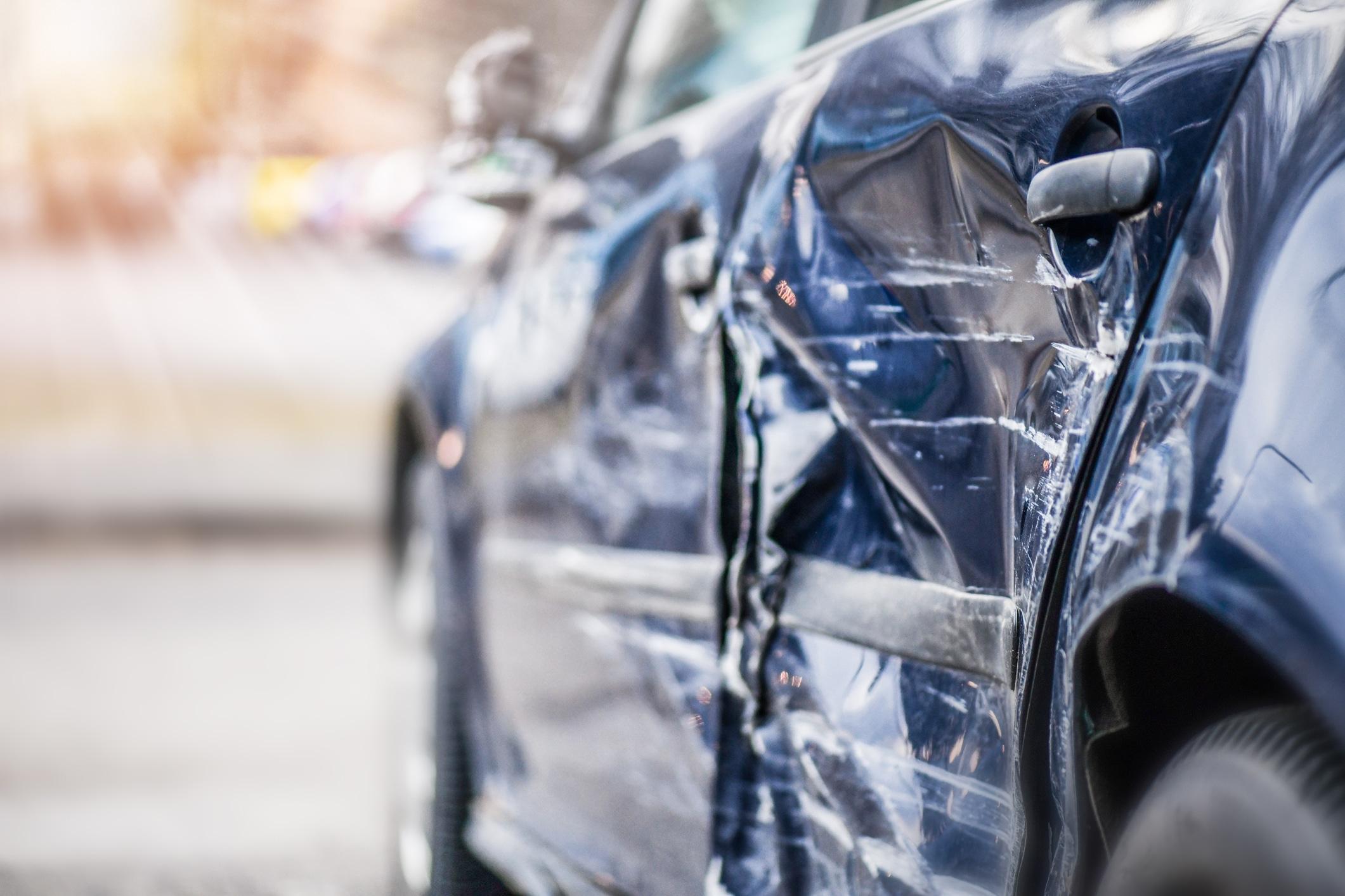 A damaged car after a wreck in Demopolis, AL.