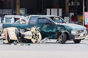 Aftermath of Motorcycle Accident with Pickup Truck