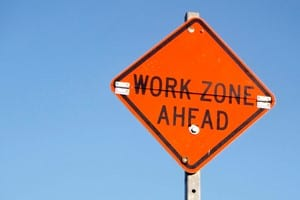 Work Zone Ahead Road Sign Stock Photo